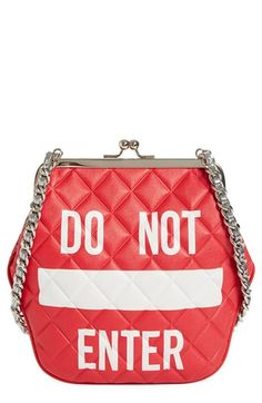 Moschino 'Do Not Enter' Quilted Leather Shoulder Bag available at #Nordstrom