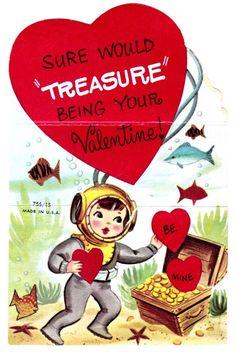 Vintage Vanenties Day Card / Retro Valentine / SIlly / Deep Sea Diver / Heart / Love