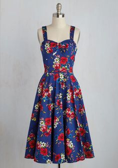 Only Time Will Twirl Dress - Multi, Blue, Floral, Print, Daytime Party, Pinup, Vintage Inspired, 50s, Fit & Flare, Sleeveless, Spring, Woven, Best, Colorsplash