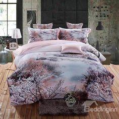 Dreamy Cherry Blossom Print 4-Piece Cotton Bedding Sets