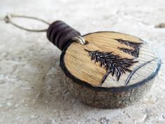 Handmade, woodburned Christmas ornament - by Monica Moody