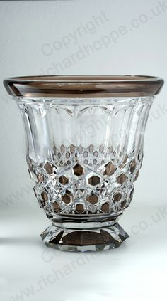 c.1930s VAL ST. LAMBERT BROWN TO CLEAR DECO CRYSTAL SOLICITOR VASE. To visit my website click here: http://www.richardhoppe.co.uk or for help or information email us here: info@richardhoppe.co.uk