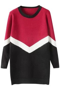 The sweater featuring color block. Warm Sweaters, Long Sweaters, Sweaters For Women, Pullover, Womens Fashion, Long Sleeve, Cardigans, Sleeves, Color