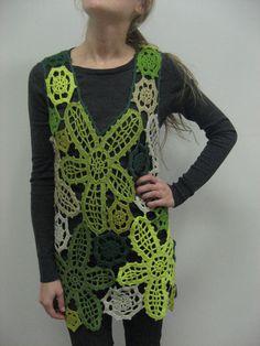HandMADE CROCHET Green WAISTCOAT Woolen  by CrochetKnitTreasury