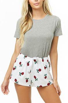Product Name:Rose Print PJ Shorts, Category:Sale, Pajamas For Teens, Cute Pajamas, Pajamas Women, Comfy Pajamas, Pjs, Satin Pyjama Set, Satin Pajamas, Pajama Set, Womens Fashion Online