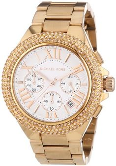 Michael Kors MK5636 Women's Chronograph Camille Rose Gold-Tone Stainless Steel Bracelet Watch >>> Want additional info? Click on the image.