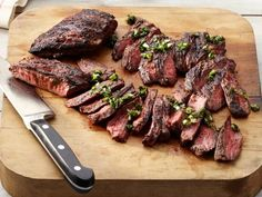 50 Grilled Steak Recipes and Ideas : Food Network . Learn 50 top grilled steak recipes and ideas for rib eye, flank steak and more from Food Network, perfect Skirt Steak Recipes, Grilled Steak Recipes, Grilled Meat, Grilling Recipes, Beef Recipes, Cooking Recipes, Grilled Steaks, Grilling Tips, Healthy Recipes