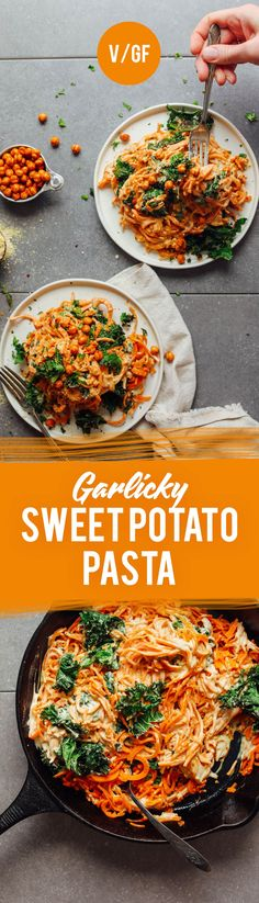 AMAZING Garlicky Sweet Potato Pasta with Crispy Kale! 8 ingredients required! #vegan #glutenfree #sweet potato #pasta #healthy #recipe #minimalistbaker