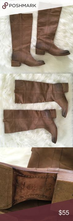 Halogen Tan Distressed Leather Heeled Tall Boots Halogen Tan Distressed Leather Heeled Tall Boots. These have some wear. Halogen Shoes Heeled Boots