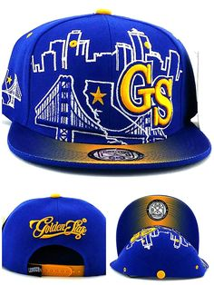 62071cac323ad Leader of the Game Golden State New GS Skyline 3 Bridge Warriors Colors  Blue Gold Era Snapback Hat