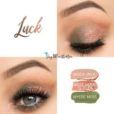 Luck Eye Trio uses three SeneGence ShadowSense: Rose Gold Glitter ShadowSense, Moca Java ShadowSense and Mystic Moss ShadowSense .  These cream to powder eyeshadows will last ALL DAY on your eye.  #shadowsense #eyeshadow