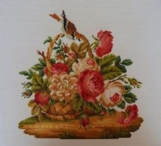 """A basket of roses"" Cross-stitch chart. The design of the picture is based on the Victorian embroideries (Europe, 19 century).  Designer: © Belikova Yana, 2014. Stitch count 142w x 142h., 43 colors, cotton embroidery floss DMC (no blend colors). Embroidery. Embroideress Elena Petrova (Russia)."