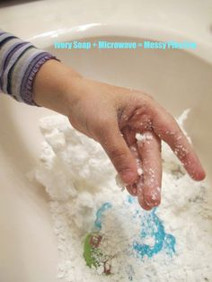 We did this today and the kids loved it because it looks like snow! Cut Ivory soap in 4, microwave for 30 seconds each.