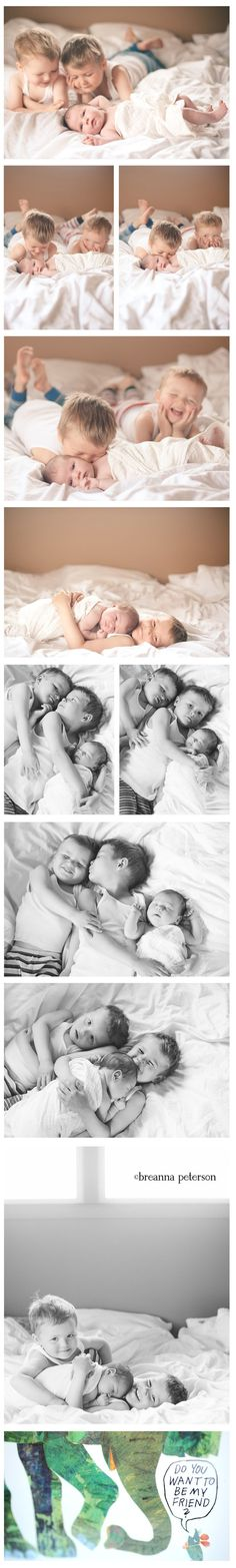 Adorable. If you're having a second or third baby, you can include your older kids in the newborn photo shoot as well!