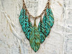 Leaf bib necklace turquoise statement necklace mint patina gift under 50 bohemian jewelry by Gypsymoondesigns on Etsy https://www.etsy.com/listing/113285608/leaf-bib-necklace-turquoise-statement