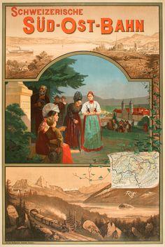 Vintage Railway Travel Poster - SUD - OST - BAHN - Switzerland - by RIGI.
