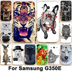 Cool Animal Pattern Moblie Phone Case Hard Back Cover Skin Shell For Samsung Galaxy Star Advance SM-G350E Cellphone Cases Hood