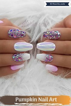 The color is very important in any visual Pumpkin Nail Art, so is for nail art. Whenever you think about a color that resembles femininity and the fee. Pastel Nails, Swag Nails, Pink Nails, Acrylic Nails, Beautiful Nail Art, Gorgeous Nails, Bridal Nails, Wedding Nails, Cute Nails