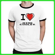 Teeburon I love Wine cooler Ringer T-Shirt - Food and drink shirts (*Amazon Partner-Link)