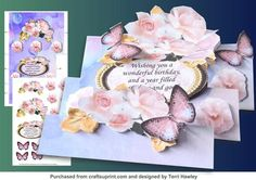 a great 3D folded birthday card, that will delight anyone,has extra butterflies that you can add where ever you like, very easy to make. add your own embellishments and make it stunning.