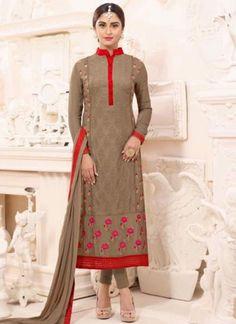 Brown Embroidery Work Georgette Santoon Designer Fancy Bollywood Churidar Suit http://www.angelnx.com/Salwar-Kameez/Churidar-Suits