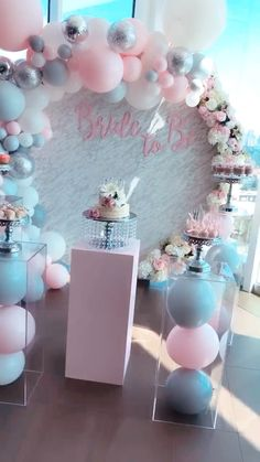 Bridal shower Grey and pink is always a perfect combination especially with this marble round wall! Birthday Balloon Decorations, Girls Party Decorations, Bridal Shower Decorations, Baptism Centerpieces, Bridal Shower Party, Baby Shower Parties, Baby Shower Themes, Party Wedding