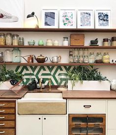Jamie Oliver's amazing test kitchen resplendent with vintage fittings - still, like the accent tile over the sink & long open shelving on top. Studio Kitchen, Test Kitchen, Kitchen Drawers, Kitchen Shelves, Eclectic Kitchen, Kitchen Decor, Jamie Oliver Kitchen, Oliver House, Closed Kitchen