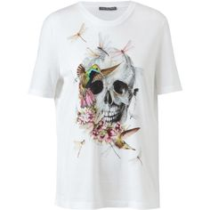 ALEXANDER MCQUEEN Floral Skull Motif Cotton T-Shirt ($330) ❤ liked on Polyvore