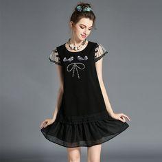 Women's Plus Size Ruffle Trim Embroidery Beaded Summer Casual Dress Black l,xl,2xl,3xl,4xl,5xl