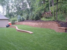 Pittsburgh retaining walls installation by PGHSW uses retaining wall block like Omni Stone and Versa-lok for it's retaining wall construction. Privacy Trees, Privacy Walls, Retaining Wall Construction, Wall Installation, Backyard, Patio, Pittsburgh Pa, Outdoor Living, Outdoor Decor