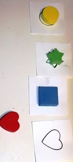 Toddler Activity - Shape Matching using the foam shapes from the Target Dollar Spot