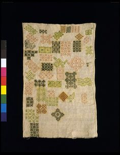British Sampler 1600-1650  linen embroidered with silk in running and double running stitch