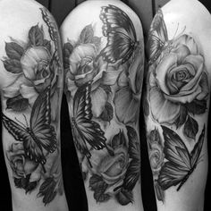 grey butterfly white rose | ivachavez-tattoo-blackandgrey-roses-butterflies-realistic