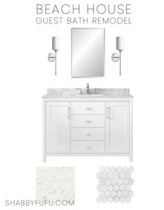 In this post I'm sharing my bathroom remodeling plans for the beach house with ideas for a simple and elegant white bathroom. Design tips and more! White Bathroom, Small Bathroom, Master Bathroom, Bathrooms, Interior Design Inspiration, Home Decor Inspiration, Bathroom Remodeling, Home Remodeling, Bathroom Plans