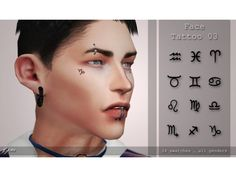 The Sims 4 Face tattoo 03 by quirkykyimu - Sims 4 - Tattoo Sims 4 Mods, Sims 4 Game Mods, Sims 4 Men Clothing, Sims 4 Male Clothes, Maxis, Sims 4 Piercings, Sims 4 Tattoos, The Sims 4 Skin, Sims 4 Anime