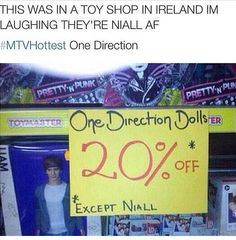 Haha love this, I'm Irish I've never seen this but I know that all the niall dolls sell out the minute they come in! ❤️❤️