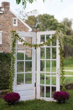 Vintage Farm House Doors for a Country Wedding Ceremony Backdrop | Kirsten Smith Photography | English Inspired Country Club Wedding in Purple and White