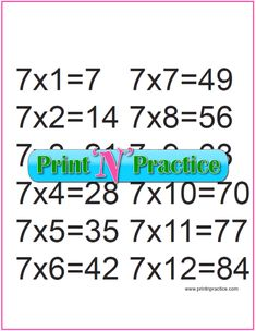 Fun multiplication worksheets to print or file. PDF worksheets, flash cards, charts, and videos. Free Multiplication Worksheets, Teaching Multiplication, Printable Worksheets, Math Drills, Math For Kids, Charts, School, Ideas, Graphics