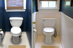 The wainscoting for this toilet stall is actually wallpaper that looks like beadboard. Topping the wallpaper with chair rail molding completes the transformation, all for about $50 and a few hours' work.        Read more: http://www.houselogic.com/photos/bathrooms/6-easy-low-cost-bathroom-makeovers/#ixzz1pbzkbr3L