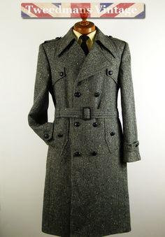 Mens tweed trench coat M 38 40 | Tweedmans Vintage