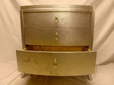 Want!!!!! :    Double crushed silver chest of drawers we upcycled. found in a charity shop...very heavy!