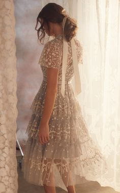Angelica Embroidered Tulle Midi Dress by Needle & Thread Dance Dresses, Ball Dresses, Ball Gowns, Evening Dresses, Prom Dresses, Formal Dresses, Wedding Dresses, Wedding Dress Midi, Elegant Dresses