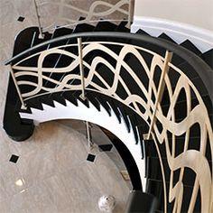 Elegant Iron Studios   Custom Ornamental Metalwork   Modern Railing and Stairs   Stainless Steel and Glass   Cincinnati, Dayton and Columbus Ohio Steel Stair Railing, Staircase Railing Design, Modern Railing, Steel Stairs, Columbus Ohio, Cincinnati, Laser Cutting, Metal Working, Art Deco