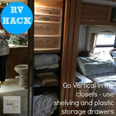 Rv Organizing And Storage Hacks Small Spaces Organizing Made intended for dimensions 1200 X 1200 Rv Pantry Shelving Ideas - Modern pantries have developed Camper Storage, Storage Hacks, Closet Storage, Boat Storage, Storage Ideas, Rv Organization, Small Space Organization, Storage Cabinets, Storage Shelves