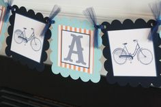 """Vintage Bicycle Bike Grey Navy Blue & Orange Stripe """"It's a Boy"""" Baby Shower Banner - Ask About our Party Pack Special -Free Ship Over Bicycle Birthday Parties, Bicycle Party, 2nd Birthday Parties, Baby Shower Themes, Baby Boy Shower, Baby Showers, Shower Ideas, Baby Bike, Blue Orange"""