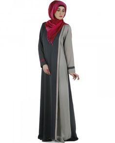 The color blocking overlap panelled abaya in shades of grey highlighted with fuchsia piping is a perfect formal wear. This is a front open Abaya. Abaya Fashion, Fashion Dresses, Women's Fashion, Simple Abaya Designs, Muslim Long Dress, Kaftan Pattern, Simple Dresses, Long Dresses, Islamic Fashion