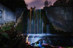 Mesmerizing Long Exposure Shots Of Neon-Streaked Waterfalls   Sean Lenz and Kristoffer Abildgaard