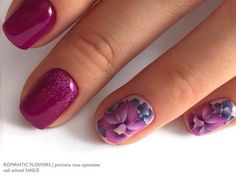 brilliant nails, Evening nails, Fuchsia nails, Glitter nails, Ideas for short nails, Office nails, Original nails, Party nails