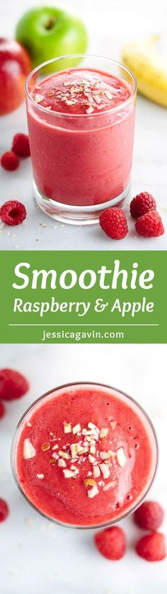 Raspberry Apple Smoothie with Bananas - Energize your day a vibrant and delicious drink recipe! Each creamy sip is packed with nutrient and fiber-rich whole fruits. | jessicagavin.com