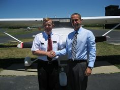 Chris McGonegle earned his Private pilot certificate on June 26, 2012. To obtain his Private certificate, Chris passed an oral and a flight exam with a Federal Aviation Administration designated flight examiner. Chris is enrolled in the Professional Pilot Program at the University of Cincinnati. The laboratory portion of the Professional Pilot Program is taught by Sporty's Academy at the Clermont County Airport.  Chris is pictured with his instructor, Larry Clark.